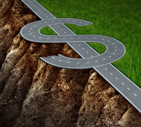 Photo for Financial cliff or fiscal risk and dangerous challenges regarding the risk in investing and finance management pit falls with a highway in the shape of a dollar symbol on the edge of a hazardous cliff. - Royalty Free Image