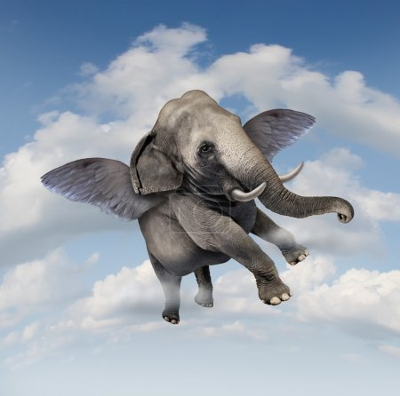 Photo pour Concept de potentiel et de possibilités avec un éléphant réaliste volant dans les airs en utilisant les ailes comme un symbole d'entreprise de réalisation et de croyance en vos capacités à réussir dans la croissance ascendante . - image libre de droit