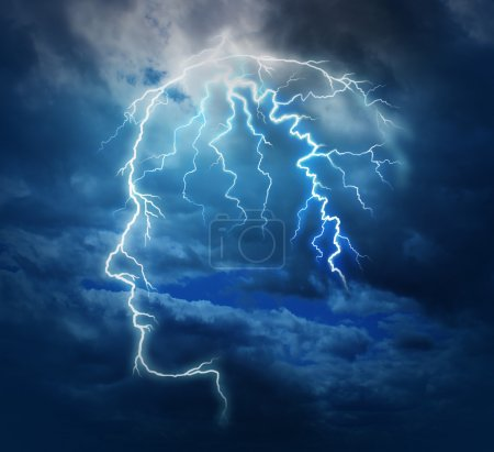 Photo for Powerful intelligence with an electric lightning bolt strike in the shape of a human head illuminated on a storm cloud night sky as a brain function neurology health care symbol. - Royalty Free Image