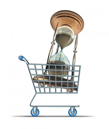 Photo for Buying time and purchasing medication to increase lifespan and longevity drugs for human body health endurance with a shopping cart transporting an hourglass on a white background. - Royalty Free Image