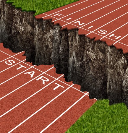 Photo for Success Risk and conquering adversity in reaching your goals as a business concept represented by a track and field race track with start and finish lines seperated by a deep and dangerous rock cliff. - Royalty Free Image
