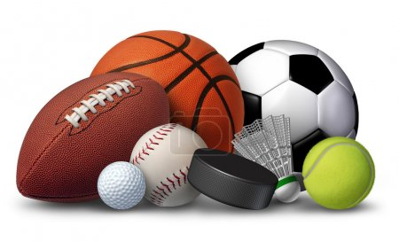 Photo for Sports equipment with a football basketball baseball soccer tennis and golf ball and badminton hockey puck as recreation and leisure fun activities for team and individual playing. - Royalty Free Image