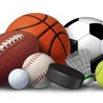 Sports equipment with a football basketball baseba...