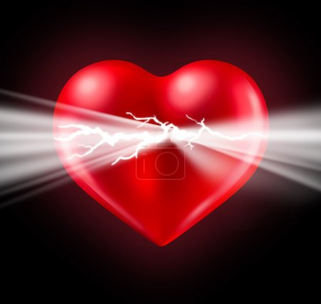 Photo for Power of human love and Euphoria with intense feelings and the energy of romantic emotions emerging and bursting from a glowing red heart shaped valentine symbol on a black background. - Royalty Free Image
