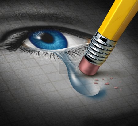 Photo for Depression Relief and conquering mental adversity with a pencil eraser removing a tear drop from a close up of a human face and eye as a concept of emotional support and therapy. - Royalty Free Image