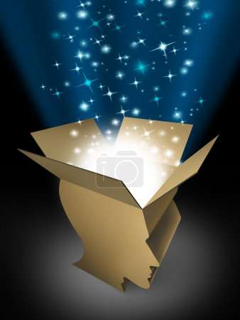 Photo for Power of the mind and powerful intelligence with an open box in the shape of a human head illuminated with a glowing beaming light bursting with sparkles as a symbol of human creativity and potential. - Royalty Free Image