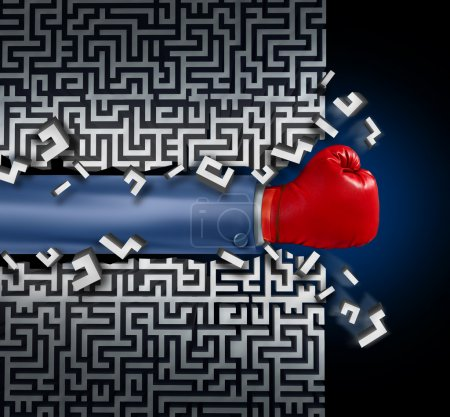 Photo pour Breaking out leadership and business vision with strategy in corporate challenges and obstacles in a maze with a business man arm with a red boxing glove clearing a path in a labyrinth with a clear solution shortcut for success. - image libre de droit