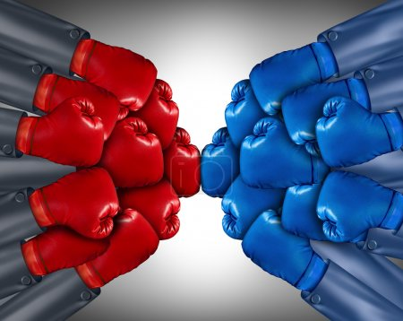 Photo for Group competition ready for a biusiness fight with a network of corporate wearing red and blue boxing gloves competing together in the open market using strategy and planning to win. - Royalty Free Image