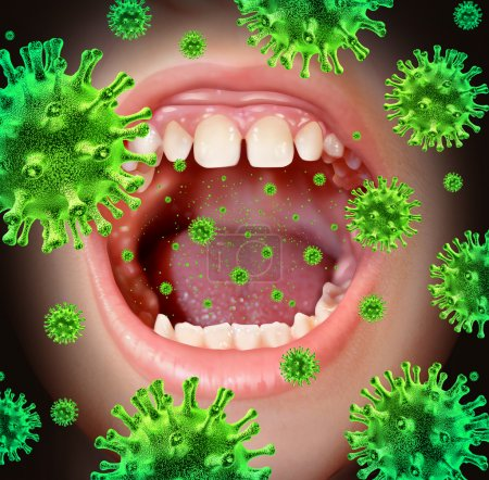 Photo for Contagious disease transmiting a virus infection with an open human mouth spreading dangerous infectious germs and bacteria while coughing during a cold or flu symptoms. - Royalty Free Image