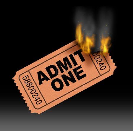 Photo pour Concept de divertissement billet chaude avec un best-seller admettre un stub d'entrée papier brûler dans les flammes avec le feu et la fumée comme un symbole du très populaire dans les médias film et cinéma à la demande. - image libre de droit