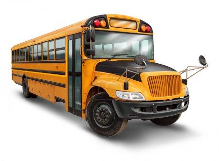 Photo pour Autobus scolaire pour le service de transport des élèves du primaire et du secondaire avec un véhicule peint en jaune et en noir comme symbole éducatif du transport sécuritaire des enfants sur fond blanc . - image libre de droit