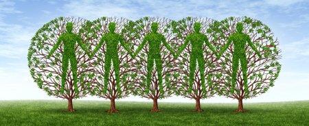 Photo pour Concept de communauté et d'amitié avec un groupe d'arbres sous la forme de se tenir la main en harmonie comme un partenariat croissant dans une coopération forte sur un ciel bleu . - image libre de droit