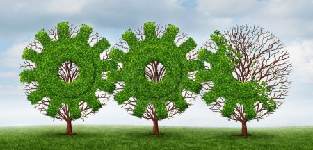 Photo for Business development and growing industry concept with trees shaped as a gear or cog connected together with future financial growth ahead on a summer sky background. - Royalty Free Image