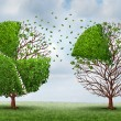 Moving market share with a group of trees shaped a...