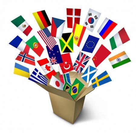 Photo pour Services mondiaux de fret et de transport maritime et transport de livraison dans le monde entier avec une caisse en carton ouvert et drapeaux de partout dans le monde, battant dehors sur un fond blanc. - image libre de droit