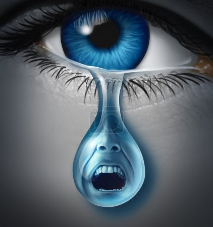 Photo for Distress and suffering with a human eye crying a single tear drop with a screaming facial expression of anguish and pain due to grief or emotional loss or business burnout. - Royalty Free Image