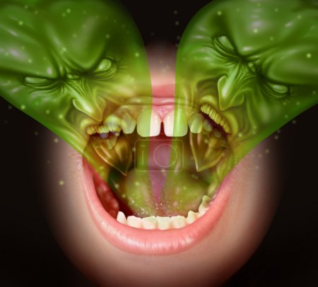 Photo pour Mauvaise haleine comme odeur d'ail émulant de l'intérieur d'une bouche humaine comme concept de santé d'une odeur nauséabonde causée par le tabagisme ou la consommation avec un gaz vert en forme de mauvais visages sur une bouche humaine ouverte . - image libre de droit