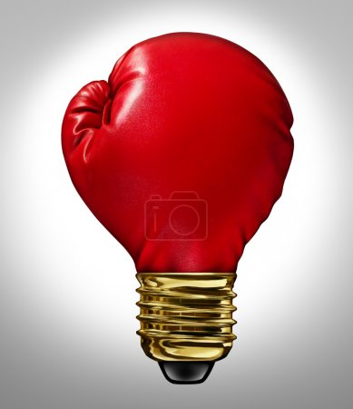 Photo for Creative power and Powerful ideas business innovation concept with a red glowing boxing glove shaped as a light bulb representing strong innovative new thinking and competitive imagination. - Royalty Free Image