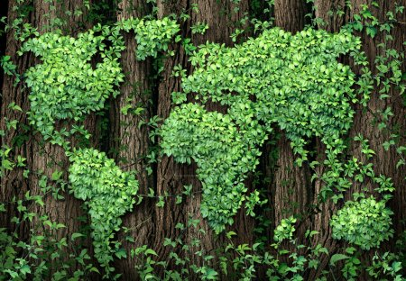 Photo for Global development and the green economy as a businesss concept with a map of the world made of an organized group vine leaves growing on forest trees as an environmental conservation symbol. - Royalty Free Image