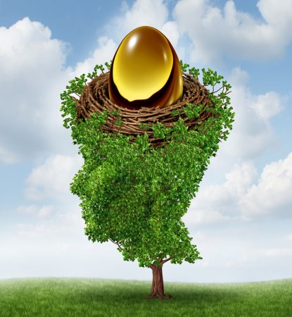 Photo for Managing your nest egg as a financial concept with a growing green tree in the shape of a human head supporting a nested investment for future retirement fund as a 401 K plan. - Royalty Free Image