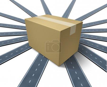 Photo pour Expédition partout et en tout lieu, concept de transport comme une séance de trois dimensions emballage en carton sur le dessus un groupe de routes et autoroutes allant dans toutes les directions sur un fond blanc. - image libre de droit