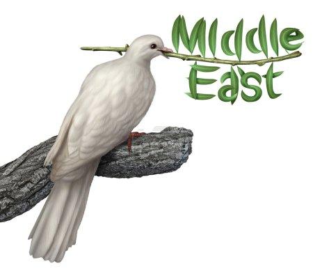 Photo pour Concept de plan et de la diplomatie de paix Moyen-Orient avec une blanche colombe tenant un rameau d'Olivier, avec les feuilles de la forme du mot qui inclut golfe Persique iran Egypte Libye Koweït israel Syrie Arabie saoudite à la recherche d'une solution négociée. - image libre de droit