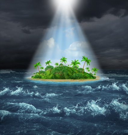 Photo for Hope and aspirations success concept with a dark storm ocean background contrasted with a glowing light from above shinning down on a beautiful tropical island as an oasis vision of the promised land. - Royalty Free Image