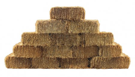Bale of hay group in a pyramid wall pattern isolat...