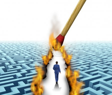 Photo for Leader Solutions with a businessman walking through a complicated maze opened up by flames and fire lit by a match as a business concept of innovative thinking for financial success. - Royalty Free Image