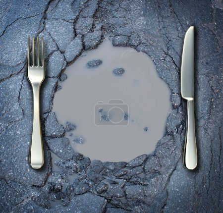 Photo for Poverty and hunger concept with a fork and knife on a broken asphalt road shaped as a dinner plate as a social problem of food shortage hardships caused by financial distress or natural disaster resulting in living poor on the streets as a health ris - Royalty Free Image