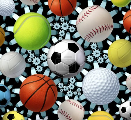 Photo for Sports business concept and sporting industry with a group of sport balls as soccer basketball baseball volleyball golf tennis and volleyball connected by a network of gears and cogs as a symbol of entertainment and media. - Royalty Free Image