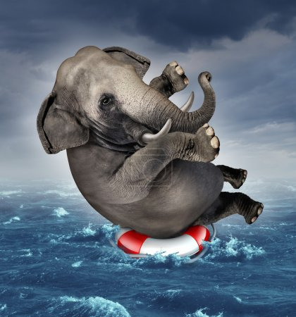 Photo for Surviving adversity and managing risk for big business challenges and uncertainty with a large elephant floating on a life preserver in a storm ocean background overcoming fear of loss for goal success. - Royalty Free Image