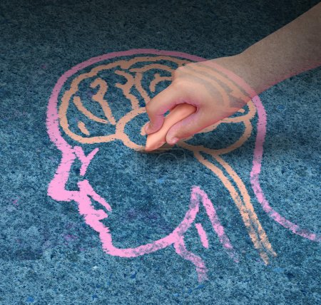 Photo for Children education concept and school learning development with the hand of a child drawing a human head and brain with chalk on a cement floor as a symbol of mental health issues in youth. - Royalty Free Image