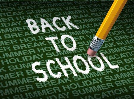 Photo pour Retour et revenir à l'école avec une gomme effacer les mots dans un contexte de modèle de pause vacances été vacances comme un symbole de l'éducation et le début de l'année scolaire pour l'apprentissage. - image libre de droit