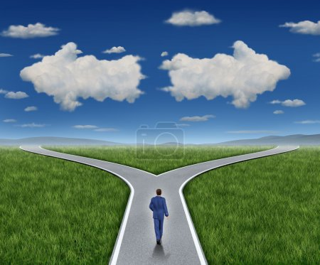 Photo for Business guidance questions and career path as a business person walking to a crossroad highway with two clouds shaped as arrows pointing in opposite directions on a blue summer sky and grass representing financial advice guide and looking for answer - Royalty Free Image