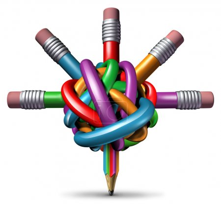 Photo for Creative management and leadership business concept as a group of tangled confused color pencils focused in a clear managed direction for team strategy resulting in imagination and innovation success. - Royalty Free Image