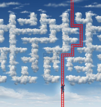 Photo for Aspiration leadership solutions with a businessman climbing a red ladder that has found an answer to a cloud shaped labyrinth or maze as a symbol of career success and achieving your goals through planning and strategy. - Royalty Free Image