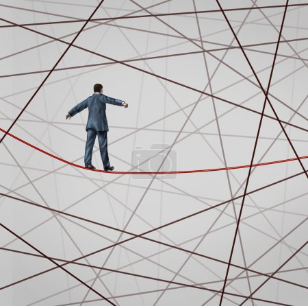 Photo for Focused On Strategy with a businessman as a high wire tight rope walker confronting adversity with a web of confused tangled group of wires trying to distract from the planned business goal for success. - Royalty Free Image