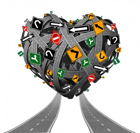 Photo for Relationship advice guidance and love counseling concept with a group of tangled roads shaped as a heart with confusing traffic signs as a metaphor for problems in intimate relations and romantic struggle on white. - Royalty Free Image