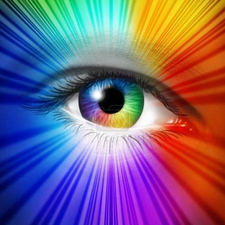 Photo pour Spectre Concept des yeux comme iris humain et pupille avec effet de rafale d'étoiles multicolore réfléchissant comme métaphore de la beauté de la mode et des cosmétiques ou du pouvoir de la vision créative . - image libre de droit