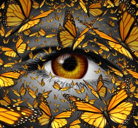 Photo for Communication freedom business and lifestyle concept with a close up of human eye and a group of monarch butterflies flying as a creative metaphor for the liberty of imagination expression and innovative vision. - Royalty Free Image
