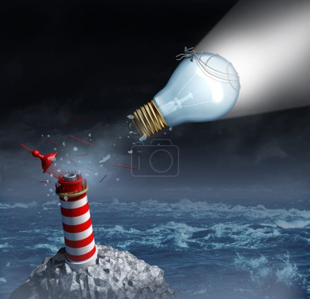 Photo for Charting your own course and taking control of goals through strong creative leadership as a businessman on a light bulb from a lighthouse breaking out to freedom and planning a new direction for success. - Royalty Free Image