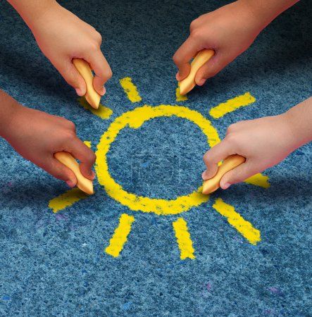 Photo for Community education and children learning and development concept with a group of hands representing ethnic groups of young people holding chalk cooperating together to draw a yellow sun shape as a metaphore for friendship. - Royalty Free Image