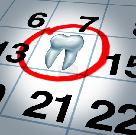 Photo for Dentist appointment and dental check up health care concept as a month calendar with a tooth circled and highlighted as a reminder metaphor for a dentist visit time at a clinic for scheduled oral care. - Royalty Free Image
