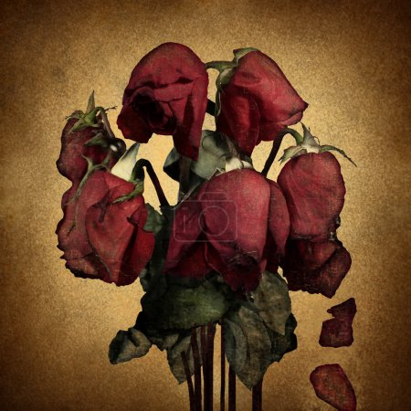 Photo for Lost love and broken heart emotions concept with wilted dying red roses and falling petals on old parchment grunge texture as a symbol of grief and sadness from relationship failure and romance rejection. - Royalty Free Image