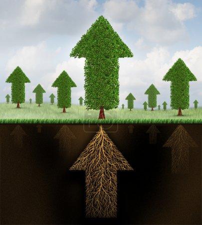 Photo pour Stabilité financière et la croissance forte métaphore de l'économie comme un groupe d'arbres en forme de flèches et un système racinaire en forme comme une flèche qui pointe vers le réussir comme symbole de la force de travail d'équipe économique entreprise. - image libre de droit