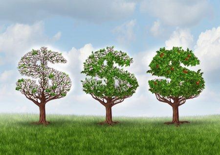 Photo pour La reprise économique et croissance métaphore d'affaires de richesse comme un groupe d'arbres en forme comme un signe de dollar progressivement croissante des feuilles et ses fruits comme un symbole de richesse et de réussite financière dans un secteur en pleine croissance. - image libre de droit