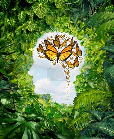 Photo for Intelligence and human creativity as a freedom of ideas symbol on a green jungle landscape shaped as a head and a group of flying monarch butterflies in the shape of a brain as a mental health and education metaphor for the potential of the mind. - Royalty Free Image