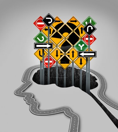 Photo for Head question mark concept as a road shaped as a human face profile and confusing traffic signs rising from a hole that is in the shape of a brain as a symbol of guidance questions and uncertainty in business and health. - Royalty Free Image