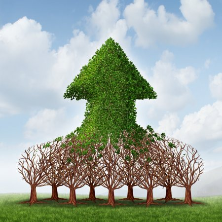 Photo for Team growth and corporate profit business concept with a group of growing trees joining together to form an upward arrow as teamwork development metaphor for financial success. - Royalty Free Image